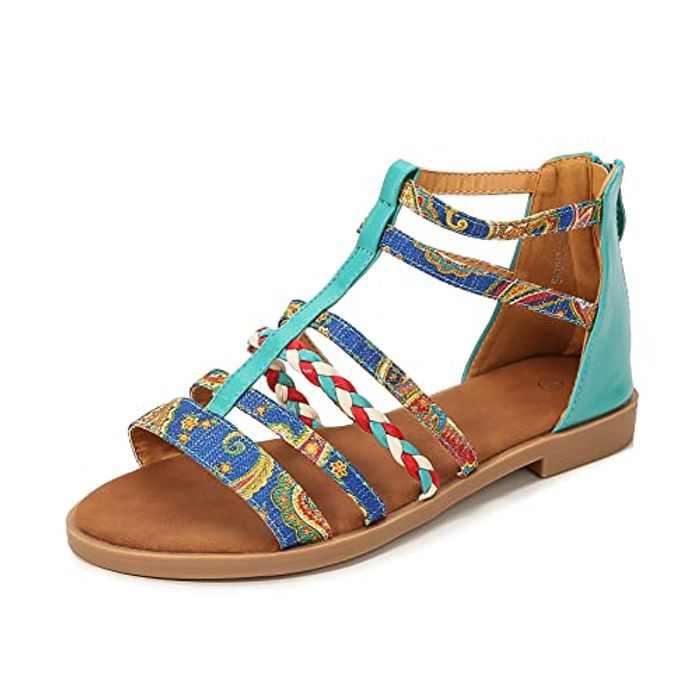 NUHEEL Summer Gladiator Sandals for Women, Ladies Fashion Bohemian Style Comfortable Beach Shoes Flat Sandals Outdoor Casual Walking Sandal Open Toe Ankle T Strap Flip Flops