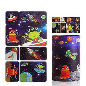 Woode Space Jigsaw Puzzles Toy - 4 in 1 Double Sided Puzzles Toys for Kids Age 3-8 Years Old, Toddler Learning and Educational Toys for Boys and Girls - Preschool Game and Gift for Children