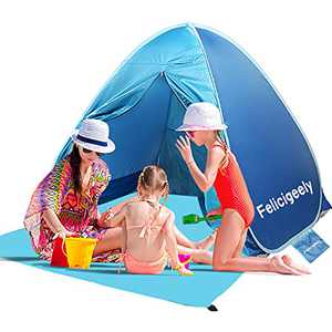 Felicigeely Beach Tent,Pop Up Beach Shade,UPF 50+ Portable Sun Shelter, Automatic Instant Baby Beach Tents Shelter Beach Sun Shade with Carry Bag Fit for 2-3 Person