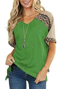 Lueluoye Short Sleeve T Shirts for Women V Neck Loose Color Block Leopard Tops Green