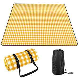 OUTHIKER Picnic Blanket Waterproof Extra Large Picnic Rugs Outdoor Blanket Foldable Picnic Mat for Camping Family Kids Playground Beach Park with White Checkered Tablecloth/Storage Bag