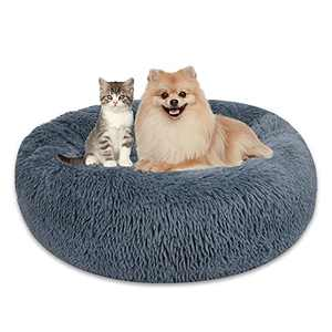Dog Bed, Warming Cozy Soft Dog Round Beds Machine Washable Puppy and Cat Beds Anti Anxiety Calming Donut Cuddler Fluffy Faux Plush Pet Beds for Small Medium Large Dogs or Cats 24''/30''/33''