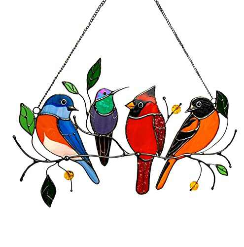 Multicolor Birds on a Wire Bird Suncatcher Window Hangings,Bird Suncatcher for Windows Doors Room Home Decoration Hummingbird Ornament and Gifts for Bird Lovers