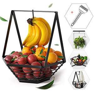 Fruit Bowl with Banana Hanger - Detachable Fruit Basket Stand Holder, Wire Vegetable Holder for Kitchen Counter (Black, Metal)