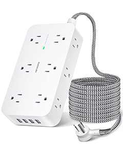 Power Strip Surge Protector- 3 Side 12 Widely Outlets and 4 USB Ports, 5Ft Braided Extension Cord, Flat Plug, Overload Surge Protection, Wall Mount, Desk Charging Station for Office, Home, ETL Listed