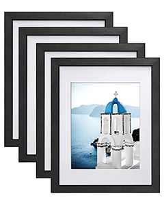 Vsadey 11x14 Picture Frames Set of 4, Wooden Photo Frames Wall Mounted for Displaying Pictures 8x10 with Mat and 11x14 without Mat Horizontally or Vertically Display Photo Frame, Black