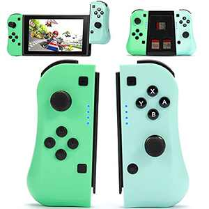 KIVNGAEM Joy con Controller Compatible with Nintendo Switch/Switch Lite, Wireless Gamepad Left and Right Plug and play Switch JoyPad with Grip Stand, Support Motion Control & Vibration&Screenshot/Video Capture-Green and Blue