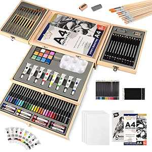 88 Piece Art Set with 2 x 50 Page Drawing Pad and 4 Canvas Panels, Professional Art Supplies in Portable Wooden Case, Painting & Drawing Set Art Kit for Kids, Teens and Adults
