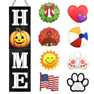 Winder Home Welcome Sign for Front Porch Door Wall Hanging Farmhouse Living Room Decor Vertical Rustic Indoor Family Summer Fall Halloween Christmas Decoration