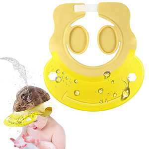 Baby Shower Cap, Locsee Adjustable Waterproof Silicone Shampoo Shower Cap for Kids Bath Visor with Ear Protection for Bathing Washing Hair, Soft Hat for Toddler, Kids, Girls, Boys, Children - Yellow