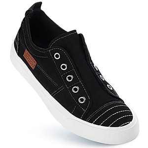 JENN ARDOR Women's Stylish Slip On Sneakers Low Top Canvas Sneakers Trendy Unlaced Flat Shoes Comfortable Casual Walking Shoes for Women Black
