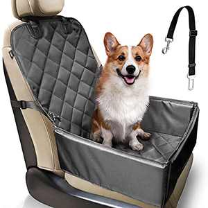 Dog Car Seat Cover, Waterproof Pets Hammock by Hard Boards for Front Seat and Back Seat,with Pet Seat Belt for Cars, Trucks & SUVs