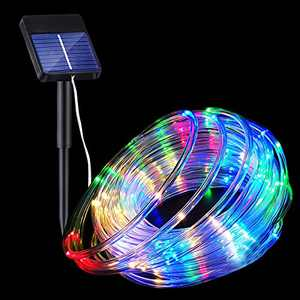 Solar Rope String Lights, Copper Wire Fairy Lights Color Changeable 8 Modes IP65 Waterproof Tube Lights for Garden Bistro Canopy Christmas Outdoor Decor