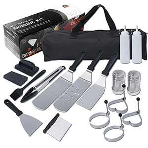 Dongzhur 17 PCS Griddle Accessories Kit for Blackstone and Camp Chef Flat Top Grill Accessories Set with Griddle Cleaning Kit and Carry Bag,BBQ Griddle Spatulas, Scrape for Grill, Teppanyaki Grill