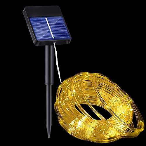 Solar Rope Lights Outdoor Waterproof, PVC Tube, Warm White, 32ft 100led, 8Modes, Garden, Pool, Yard, Patio, Christmas