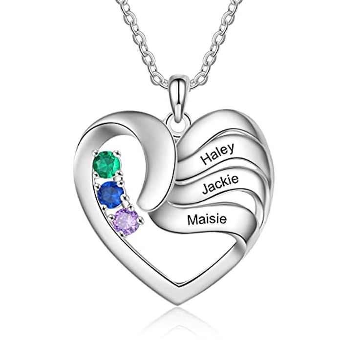 Albertband Personalized Necklace Silver 925 Women's Heart Pendant Necklace with Names Engraving Mother Daughter Gift for Mother's Day Valentine's Day Christmas