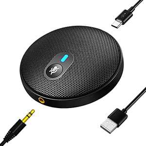 Flauno USB Conference Omnidirectional Microphone - External PC Mic with Mute Button for Computer Laptop | Plug & Play Compatible with Mac OS Windows | for Video Call | Zoom Meeting | Skype