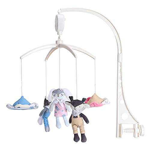 Minimee Store Baby Musical Crib Mobile for Newborn Boys and Girls.Wind-Up Hanging Mobile with Rabbit Deer Fox and Clouds Hanging Rotating Toys.
