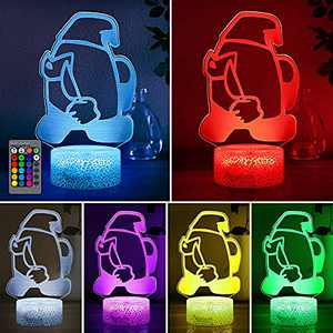Among Us Night Light for Kids, 3D LED Illusion Lamp with 16 Colors Changing, USB Powered Nightlight with Remote Control, Bedside Night Lights for Boys Girls Gifts Bedroom Decor
