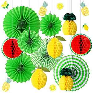 Dongzhur 12 PCS Pineapple Party Decorations,Pineapple Party Decorations, Summer Theme Paper Lantern Pineapple Honeycomb Hanging Green Paper Fan for Hawaii,Beach,Summer Decoration Party Supplies Kits
