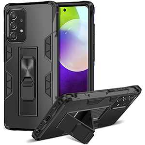 ELOVEN for Samsung Galaxy A52 5G Case with Built-in Kickstand Dual Layer Protective Cases Shock Abosorption Rugged Bumper Hard PC Case Work with Car Mount Phone Cover for Samsung Galaxy A52 5G Black
