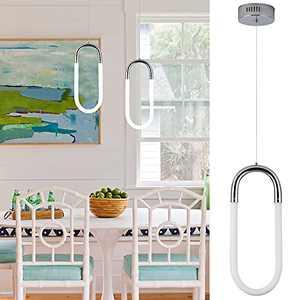 Toupus Modern LED Pendant Light Mini Pendant Lighting 1-Ring Kitchen Island Pendant Light Fixtures Oval Adjustable Hanging Chandelier for Dining Living Room, Neutral White 4000K, 12W, 15 inch