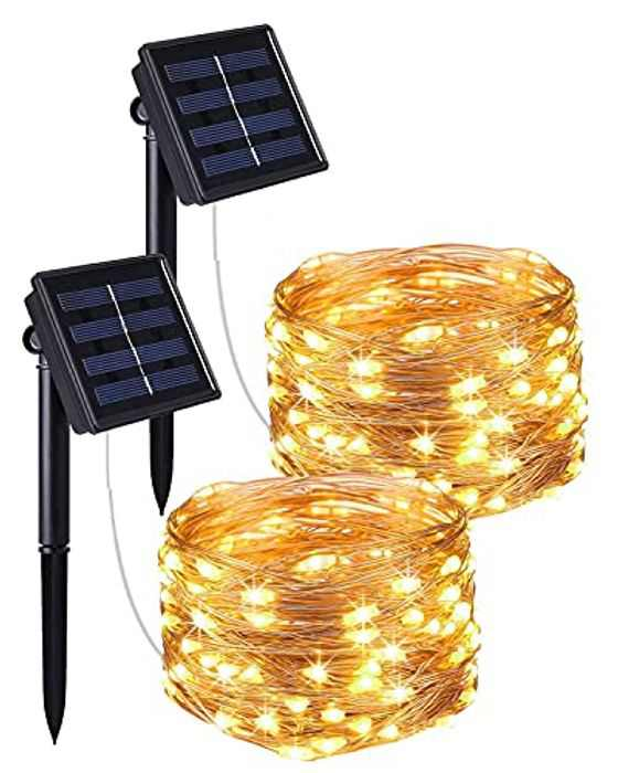 Gaoni Solar String Lights Outdoor, 100 LEDs 10M with 8 Modes Solar Fairy Lights Wire Lighting Copper Wire Lights Waterproof Solar String Lights for Garden, Yard, BBQ, Party, 2 Pack(Warm White)
