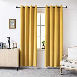 1Pair Yellow Velvet 100% Blackout Curtain for Living Room,52 x 108 inches, Darkening Thermal Insulated Window Treatment Curtain Solid Grommet Top Blackout Drape for Bedroom Decor/ Hall / Holiday Fete