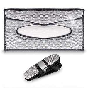 ForFine 1 PCS Car Visor Tissue Holder Sparkling Crystals Leather Napkin Mask Holder Dispenser Box Case, 1 PCS Car Sun Visor Glasses Holder, 2 PCS Bling Car Accessories for Women Girls (Silver)