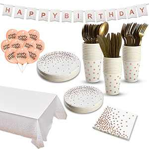Rose Gold Birthday Decorations Disposable Dinnerware Set, Black Rose Gold Paper Plates Napkins Cups Tablecloth Happy Birthday Balloons Banner, Gold Plastic Silverware Set for Party Supplies