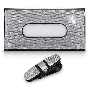 ForFine 2 PCS Bling Car Accessories for Women Girls, 1 PCS Car Visor Tissue Holder Sparkling Crystals Leather Napkin Mask Holder Dispenser Box Case, 1 PCS Car Sun Visor Glasses Holder (Silver)