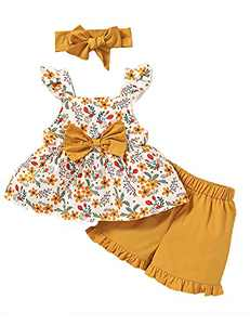 Toddler Girl Summer Outfit Cute Girl Clothes Toddler Girl Shorts Set (Yellow,2-3 T)