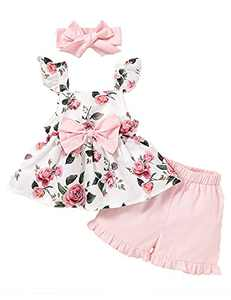 Toddler Girl Summer Outfit Cute Girl Clothes Toddler Girl Shorts Set (Pink,12-18 Months)