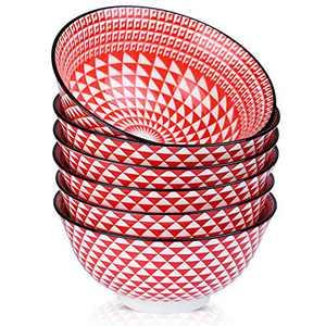 Venlles Porcelain Cereal Bowls 21oz Salad Bowls for Soup, Noodles, Rice, or Pasta, Dishwasher & Microwave Safe, Set of 6, Red