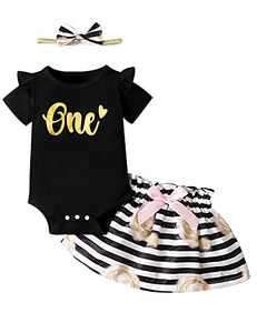 Baby Girl Wild One Skirt Set Infant First Birthday Outfit with Headband (Black,6-12 Months)