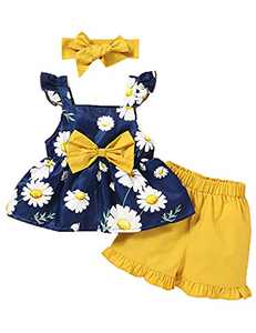 Toddler Girl Summer Outfit Cute Girl Clothes Toddler Girl Shorts Set (Blue,18-24 Months)