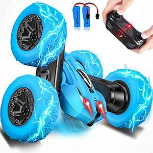Remote Control Car, RC Cars Stunt Car Toy, 4WD 2.4Ghz Double Sided 360° Rotating, Kids Toys Cars with Headlights, Gifts for 4, 5, 6, 7, 8, 9, 10, 11, 12 Year Old Boys / Girls (Blue)