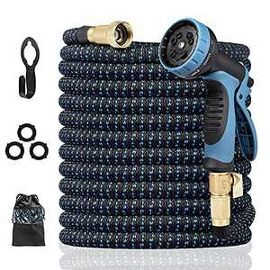 """Harnestle Expandable Garden Hose 50 ft, Flexible Water Hose with 10 Function Spray Nozzle, Lightweight Expandable Hose with 3/4"""" Solid Brass Fittings and 4 Layers Latex Core"""