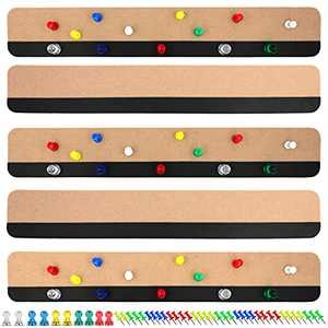 5 Pack Bulletin Board Strips Magnetic and Push Pin Combo Self Adhesive Felt Bulletin Bars for Walls Better Than Cork Boards for Walls Home Office Memo (Camel)