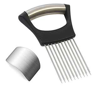 VOJACO Onion Slicer, Onion Holder & Finger Guards for Cutting, Stainless Steel Onion Slicer Tool for Slicing and Dicing Avoid Hurting, Onion Cutting Tool Vegetable Cutter Slicer, Kitchen Gadgets