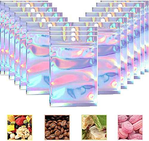 100 Pieces Resealable Smell Proof Bags Foil Pouch Bag Flat Ziplock Bag ,for Party Favor Food Storage (Holographic-3, 3.15x5.12 Inch)