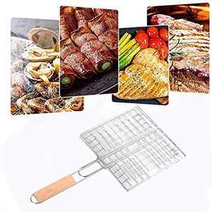 Barbecue Basket with Resistant-hot Handle - Foldable Stainless Steel Grilling Basket Grill BBQ Net Steak Meat Fish Vegetable Holder (Sliver)