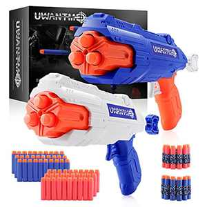UWANTME Toy Guns for Nerf Gun Games 2 Pack with 60 Pcs Refill Foam Darts Bullet and 6 Dart Rotating Drums for Boys Girls Kids