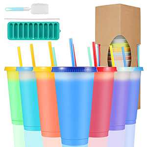 Sursip 24 oz Color Changing Reusable Cup,Sursip 10 Pack With Lid/Straws, Summer Coffee Tumblers Party Cup for Adults,Come with Ice tray, Cup bBrush, Straw Brush