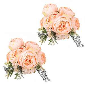 Peonies Artificial Flowers, 2PCS Peonies Silk Flowers IPOPU Fake Flowers for Flower Decor for DIY Wedding Bouquets Centerpieces Bridal Shower Party Home Flower Arrangement Decorations (Spring Orange)