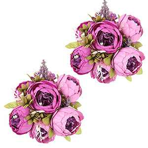 Purple Flowers, IPOPU 2pcs Peonies Artificial Flowers for Decoration Silk Flowers with Stems for Home Table Decor Wedding Centerpieces for Tables (Purple)