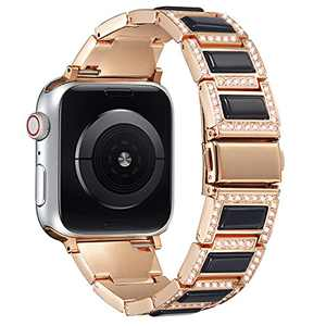 PROATL Bling Metal Strap Band Compatible with Apple Watch Band 42mm 44mm, Opal Diamond Rhinestone Business Wristband Bracelet Replacement for iWatch Series SE 6 5 4 3 2 1(Black+Rose Gold)