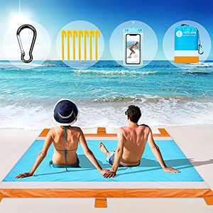 """Beach Blanket Waterproof Sandproof, Picnic Blankets Mat Include 7 Stakes and Waterproof Phone Pouch, Oversized 83"""" X 79"""" for 4-7 Adults, Beach Accessories for Vacation, Travel, Camping, Hiking"""