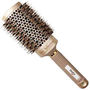 Baasha Medium Boar Hair Brush Round for Women, Round Brush for Blow Drying Medium Length, Ceramic Barrel Professional Hair Brush With Boar Bristle 3 Inch