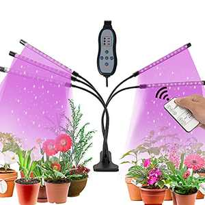 Avcoln 5 Head Grow Light, for Indoor Plants with Red Blue Spectrum, 10 Dimmable Brightness, 4/8/12H Timer, 3 Switch Modes, Adjustable Gooseneck, Suitable for Various Plant Growth